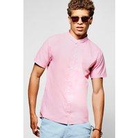 Sleeve Grandad Collar Shirt Slim Fit - pink
