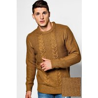 Neck Jumper With Cable Knit Front - mustard