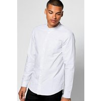Sleeve Vertical Stripe Grandad Collar Shirt - white