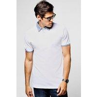 Woven Collar Pique Polo - white