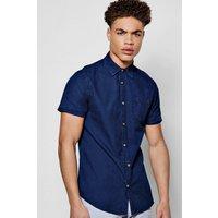 Sleeve Indigo Shirt - navy