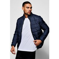 Through Funnel Neck Quilted Jacket - navy