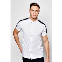 Sleeve Shirt With Contrast Sleeve Stripe - navy