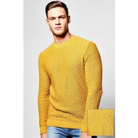 Neck Chevron Knit Jumper - mustard