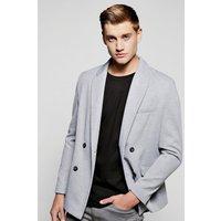 Breasted Textured Blazer - grey