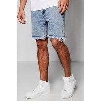 Wash Denim Shorts - blue