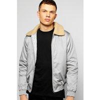 Harrington Jacket with Borg Collar - grey