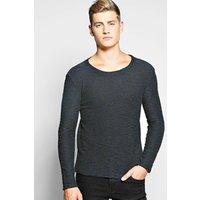 Loopback Sweatshirt In Mixed Yarn - navy