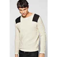 Crew Neck Jumper With Shoulder Patches - oatmeal