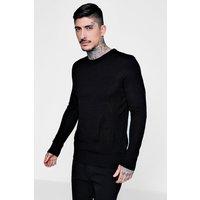 Crew Neck Fine Gauge Knitted Jumper - black