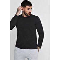 Long Sleeve Crew Neck T Shirt - black