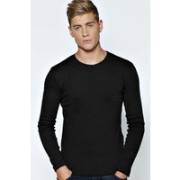 Sleeve Crew Neck Ribbed T Shirt - black