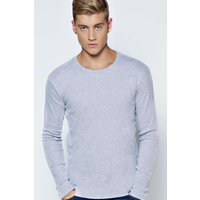 Sleeve Crew Neck Ribbed T Shirt - grey