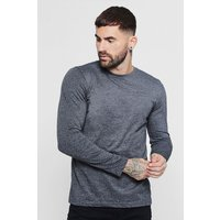 Long Sleeve Crew Neck T Shirt - charcoal