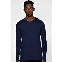 Long Sleeve Crew Neck T Shirt - navy