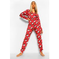 Womens Christmas Pudding Jersey Onesie - Red - 16, Red