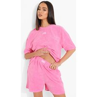 Womens Ofcl Woven Tab Towelling Short - Pink - 16, Pink