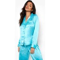 Womens Satin Mix & Match Pj Shirt - Blue - 14, Blue