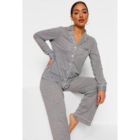 Womens Jersey Button Pj Long Sleeve Trouser Set - Grey - 6, Grey