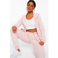 Womens Velour Hoodie And Jogger Loungewear Set - Pink - 14, Pink
