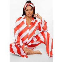 Womens Candy Cane Stripe Satin Pj And Hair Band Set - Red - 16, Red