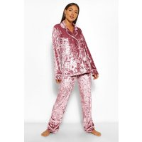 Womens Crushed Velvet Double Breasted Pj Set - Pink - 6, Pink