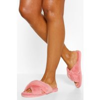 'Womens Fluffy Cross Front Slippers - Pink - M, Pink