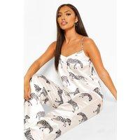 Womens Zebra Satin Cami And Trouser Pyjama Set - White - 16, White