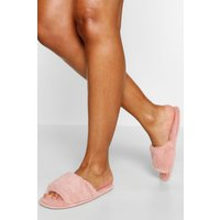 'Womens Fluffy Slider Slippers - Pink - S, Pink