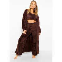 Womens Premium Fluffy Lounge Cardigan - Brown - 14, Brown