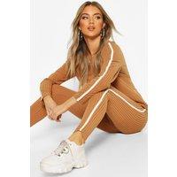 Womens Soft Rib Single Side Stripe Legging Lounge Set - beige - 16, Beige