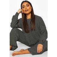 Womens Stripe Jersey Lounge Trouser Pj Set - Black - 10, Black