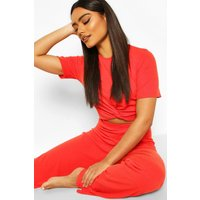 Womens Soft Ribbed Knot Front Top & Trouser Lounge Set - red - 16, Red