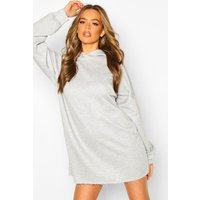 Womens Oversized Lounge Hoodie Sweat Dress - grey - 16, Grey