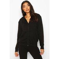 Womens Basic Soft Mix & Match Zip Through Hoodie - black - 10, Black