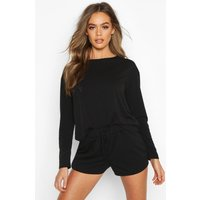 Womens Crop & Short Sweat Pyjama Set - black - 8, Black