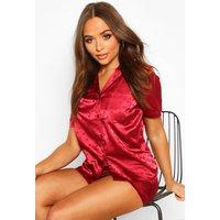 Womens Satin Polka Dot Short Sleeve Pyjama Set - red - 14, Red