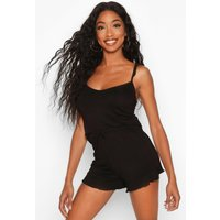 Womens Soft Jersey Frill Detail PJ Shorts Set - black - 12, Black