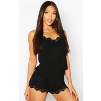 Womens Lace Trim Soft Jersey PJ Set - black - 10, Black