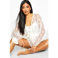 Womens Lace Trim Bridal dressing gown - white - 12, White