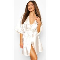 Womens 'Bride' Metallic Embroidered dressing gown - white - L, White