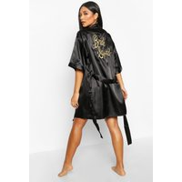 Womens 'Bride Squad' Metallic Embroidered dressing gown - black - L, Black