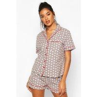 Womens Brushed Star Print Short Sleeve PJ Set - grey - 14, Grey
