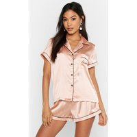 Womens Bridesmaid Embroidered Satin Short Set - metallics - 12, Metallics
