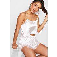 Womens Satin Cami And Eyelash Lace Pyjama Short Set - White - 10, White