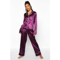 Womens Satin Button Through Piped Pj Set - Purple - 14, Purple