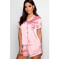Womens 'Girl Power' Embroidered Satin Short Set - Pink - 16, Pink