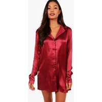 Womens Satin Button Through Night Shirt - red - M, Red