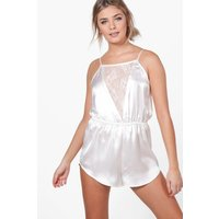 Satin & Lace Playsuit - ivory