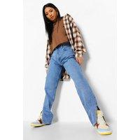 Womens Petite Side Split Hem Jeans - Blue - 8, Blue